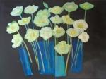 Anemones in blue vases